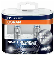 Набор ламп Osram H1 12v 55w - P14.5s Night Breaker Unlimited +110% DuoBox (64150NBU)